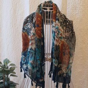 Blue, green and animal print scarf